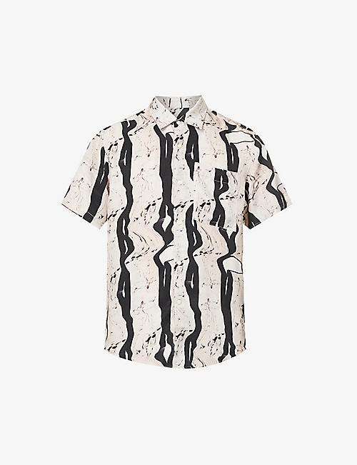 TIGER OF SWEDEN: Didon woven graphic-print short-sleeve shirt