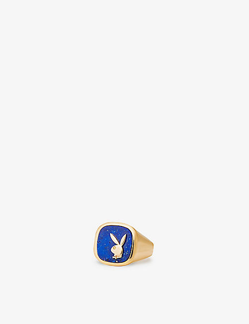 HATTON LABS: Hatton Labs x Playboy Membership 18ct yellow gold-plated sterling-silver, yellow diamond and blue lapis signet ring