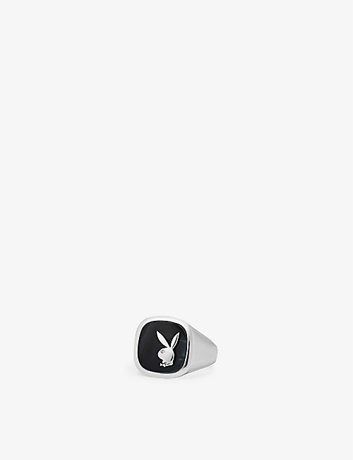 HATTON LABS: Hatton Labs x Playboy Membership sterling-silver, black hawk's eye and pink-sapphire signet ring