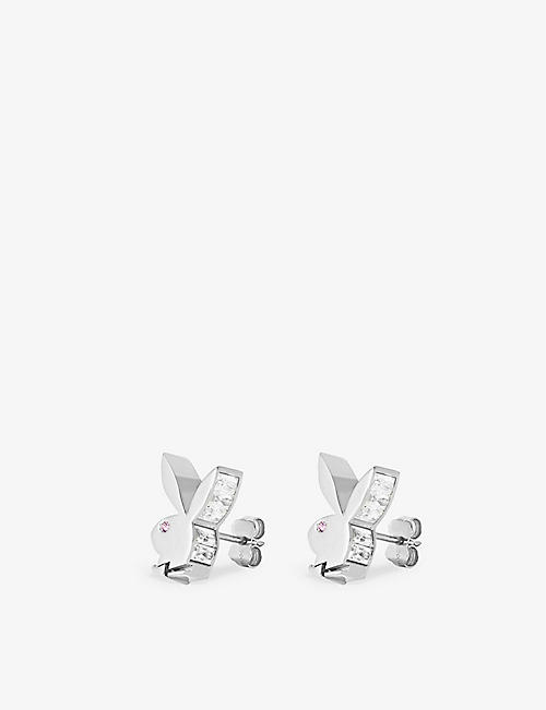 HATTON LABS: Hatton Labs x Playboy Bunny 18ct white gold-plated sterling-silver, white zirconia and pink-sapphire earrings