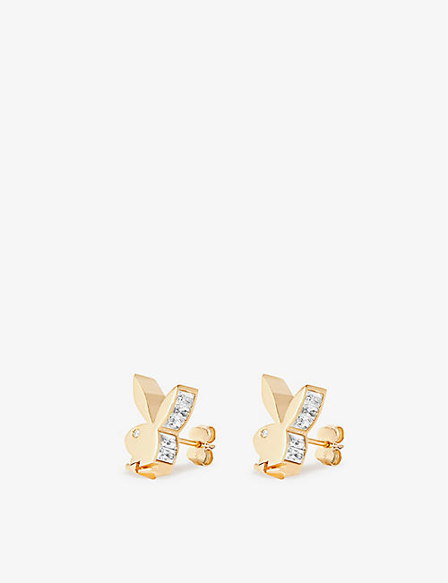 HATTON LABS: Hatton Labs x Playboy Bunny 18ct yellow gold-plated sterling-silver, white-zirconia and white-sapphire earrings