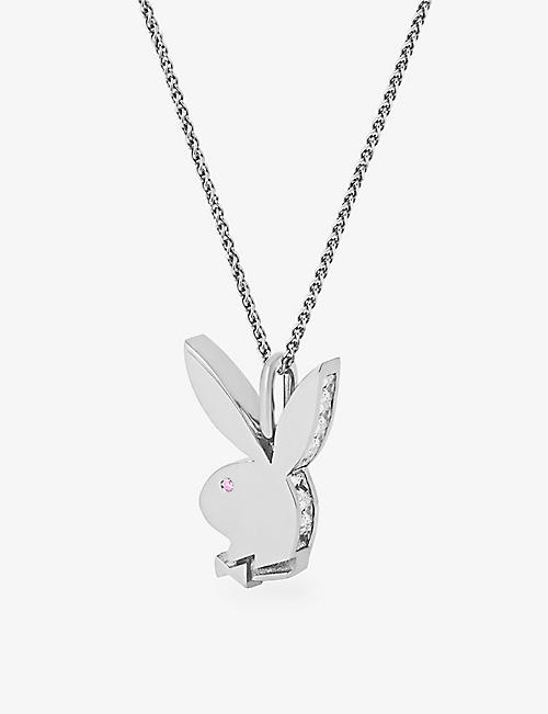 HATTON LABS: Hatton Labs x Playboy Bunny 18ct white gold-plated sterling-silver, white zirconia and pink-sapphire pendant and chain necklace