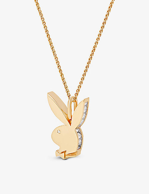 HATTON LABS: Hatton Labs x Playboy Bunny 18ct yellow gold-plated sterling-silver, white-zirconia and white-sapphire pendant necklace