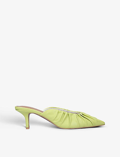 WHO WHAT WEAR: Joy ruched leather heeled mules