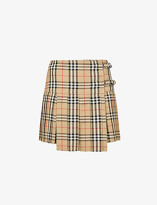 BURBERRY: Checked high-waisted wool mini skirt