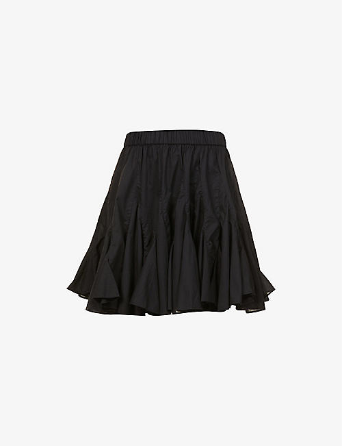 RHODE: Hilary pleated cotton mini skirt