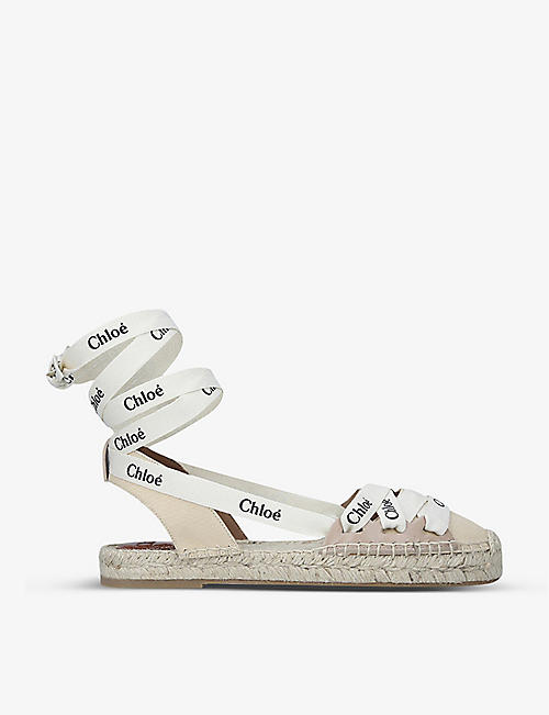 CHLOE: Lauren branded leather and cotton espadrille sandals