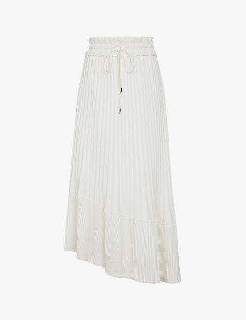 REISS: Lottie drawstring-waist pleated midi skirt