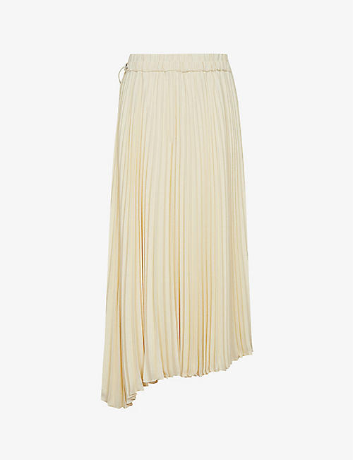 REISS: Moley pleated woven midi skirt
