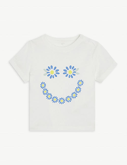 STELLA MCCARTNEY: Floral Smiley cotton T-shirt 3-36 months