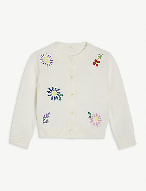 STELLA MCCARTNEY: Floral-embroidered cotton cardigan 3-36 months