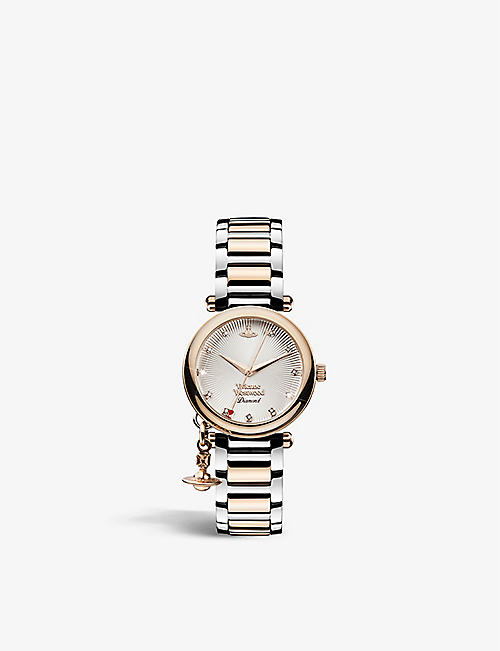 VIVIENNE WESTWOOD WATCHES: VV006SLRS Orb Diamond stainless-steel and 0.005ct diamond quartz watch