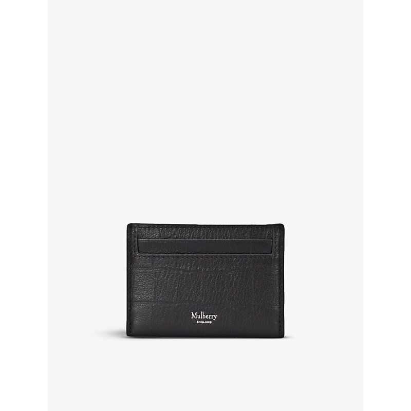 Croc-embossed leather card holder