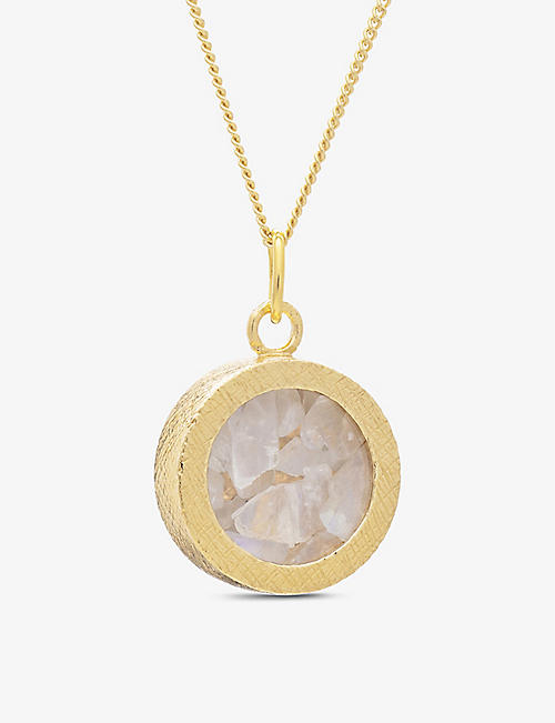 RACHEL JACKSON: Birthstone Amulet June moonstone and 22ct gold-plated sterling silver necklace