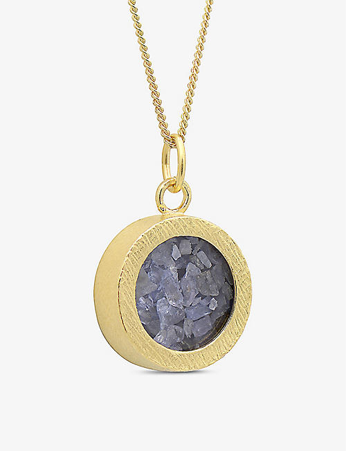 RACHEL JACKSON: Birthstone Amulet December tanzanite and 22ct gold-plated sterling silver necklace