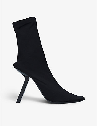 BALENCIAGA: Slash-heel stretch-knit boots