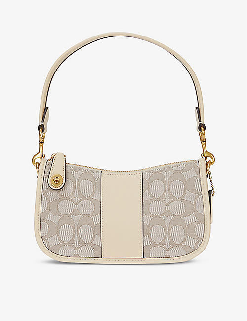 COACH: Swinger small cotton-blend and leather shoulder bag