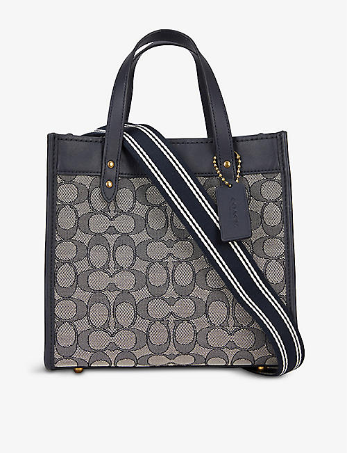 COACH: Field 22 logo-jacquard leather and woven tote bag