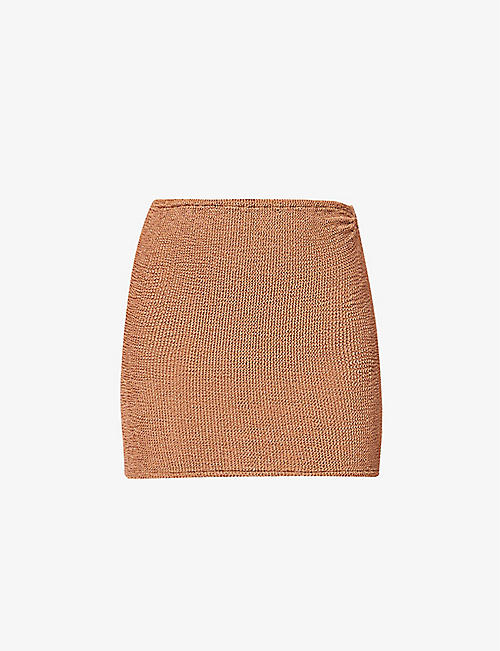 HUNZA G: High-rise seersucker stretch-woven mini skirt
