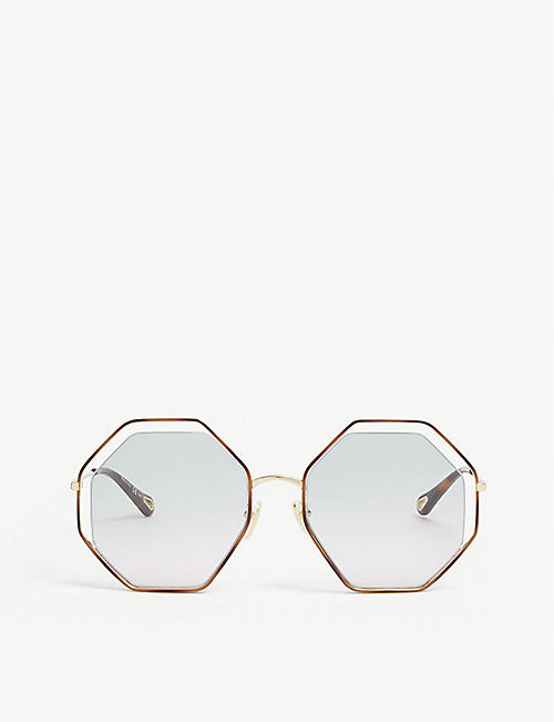 CHLOE: CH0046S hexagonal-frame metal sunglasses
