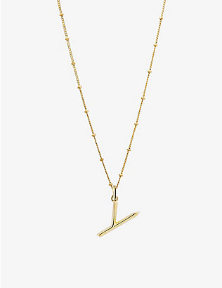 EDGE OF EMBER: Y initial 18ct yellow-gold plated vermeil recycled sterling-silver pendant necklace