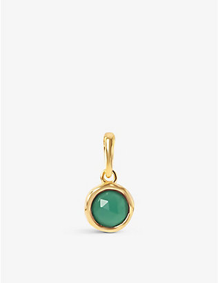 EDGE OF EMBER: May birthstone 18ct gold-plated sterling silver and green onyx pendant