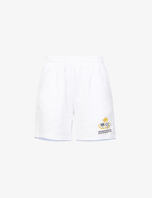 SPORTY & RICH: Country Club branded mid-rise cotton-jersey shorts