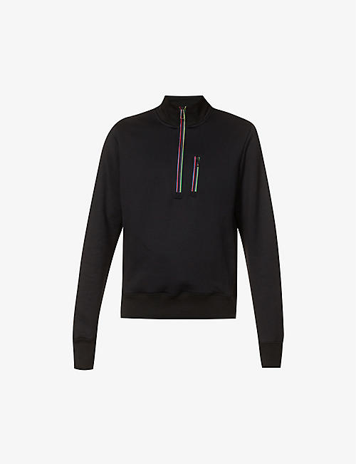 PS BY PAUL SMITH: Striped funnel-neck cotton-blend sweatshirt