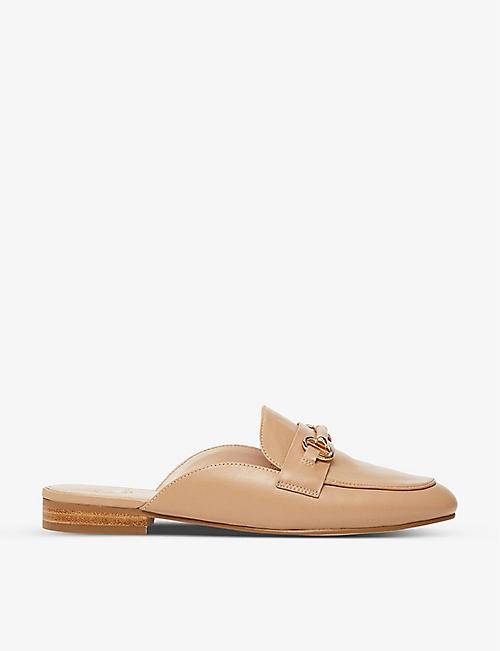 DUNE: Glowin snaffle trim backless leather loafers
