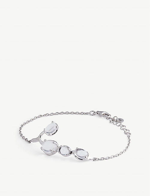 ALAN CROCETTI: Droplet rhodium-plated vermeil sterling-silver and crystal bracelet