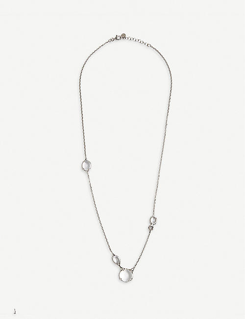 ALAN CROCETTI: Droplet rhodium-plated vermeil sterling-silver and crystal necklace