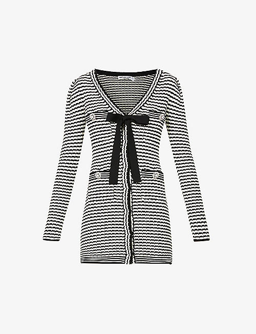 SELF-PORTRAIT: Stripped button-embellished cotton-blend knitted mini dress