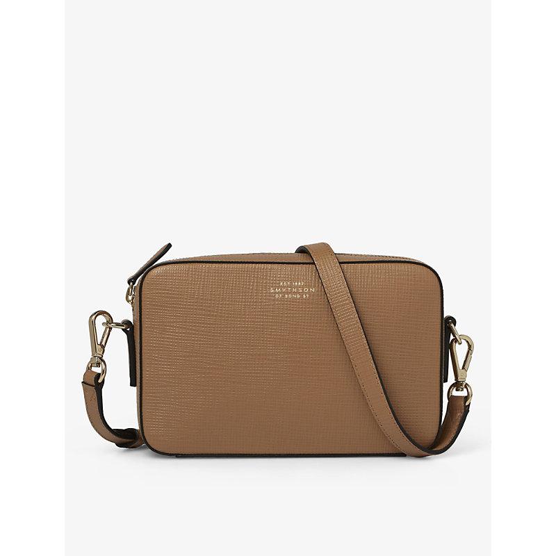 Smythson Panama Logo-embossed Leather Cross-body Bag In Light Rosewood