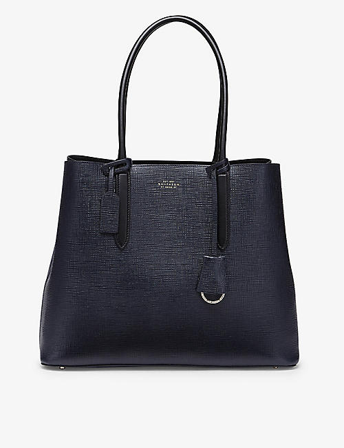 SMYTHSON: Panama cross-grain leather business tote bag
