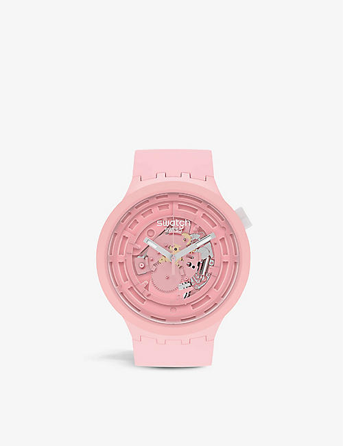 SWATCH: SB03P100 C-Pink Bioceramic quartz watch