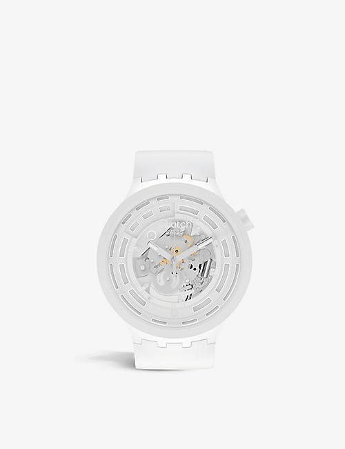 SWATCH: SB03M100 C-white silicone chronograph watch