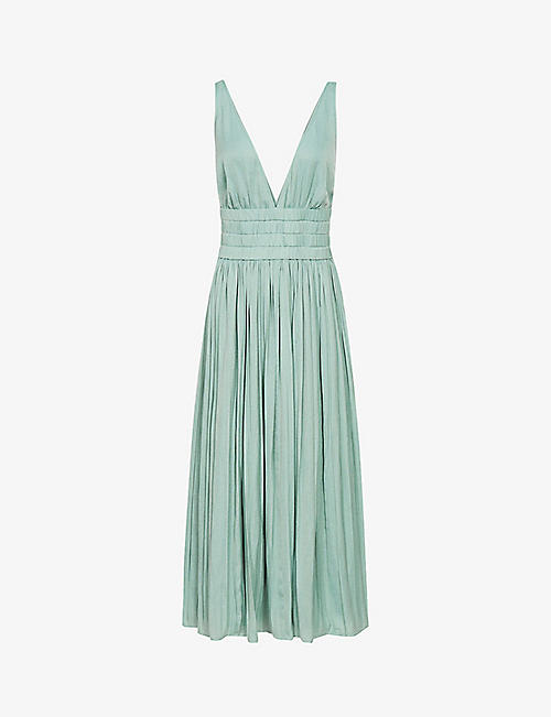REISS: Saffy pleated woven midi dress