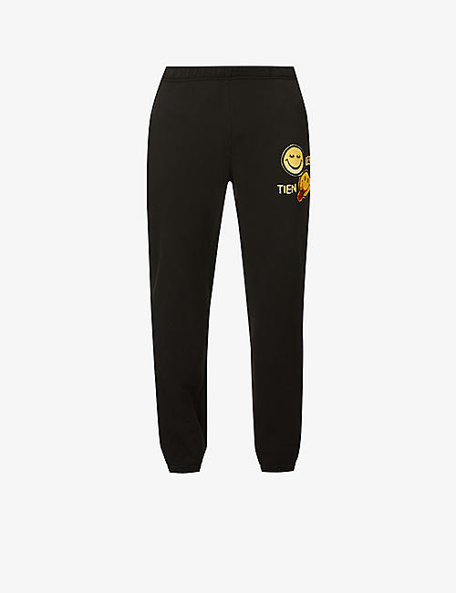 LES TIEN: Classic logo-patch mid-rise cotton-jersey jogging bottoms