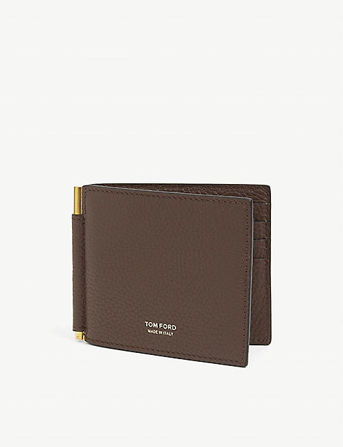 TOM FORD: Full grain leather money clip wallet