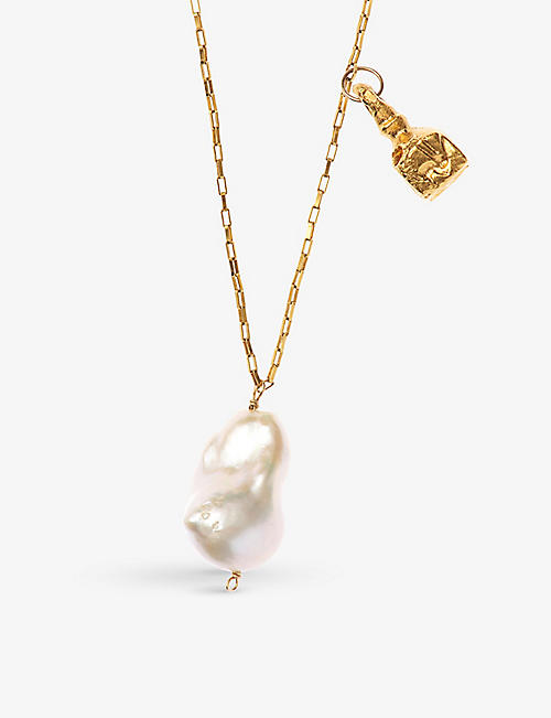 ALIGHIERI: The Anchor and the Baroque 24ct gold-plated bronze and freshwater baroque pearl necklace
