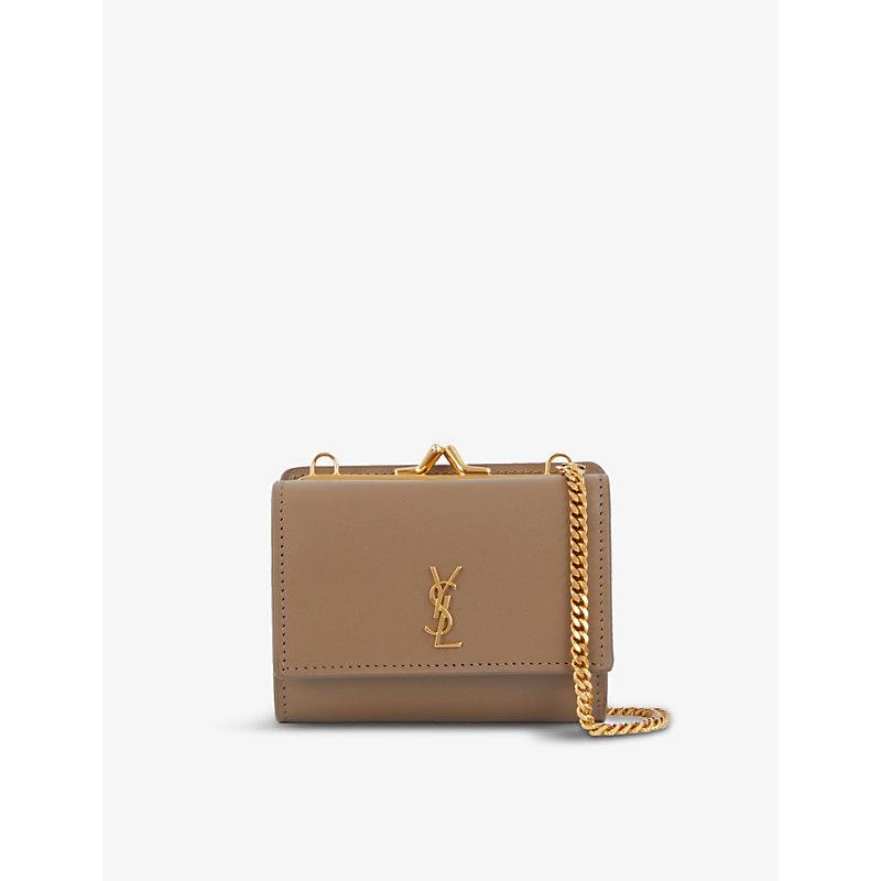 Saint Laurent Monogram Leather Cross-body Purse Bag In Neutrals