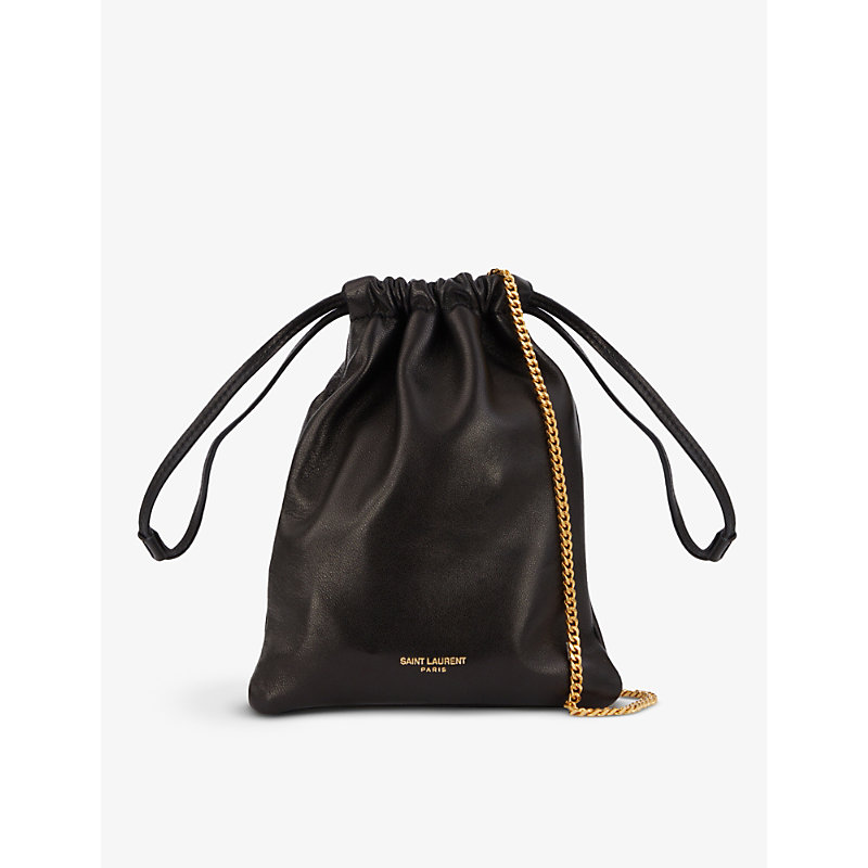 Saint Laurent Logo-plaque Leather Pouch Bag With Chain In Black