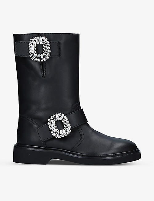 ROGER VIVIER: Viv' Biker crystal-embellished leather boots