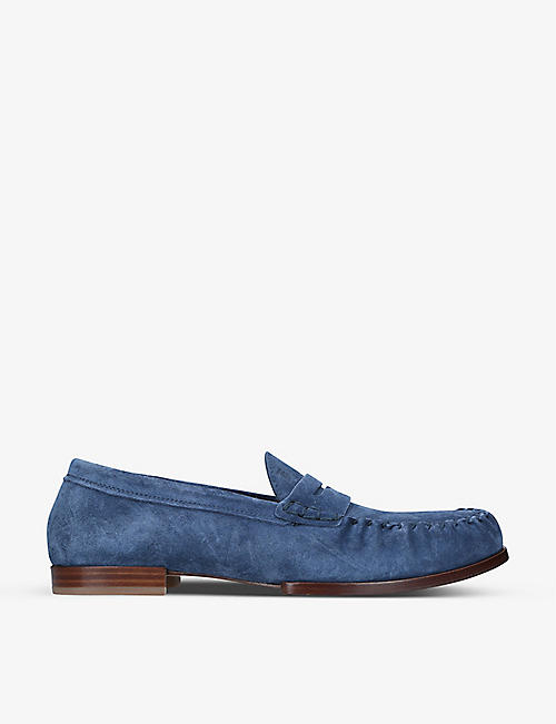 TODS: Penny-bar suede loafers