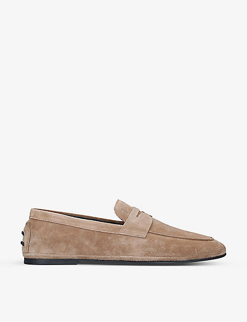 TODS: Gomma suede penny loafers