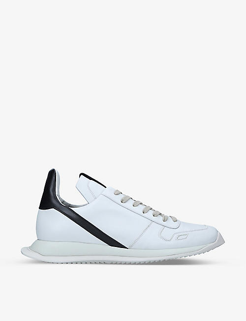 RICK OWENS: Phleg Runner leather low-top trainers