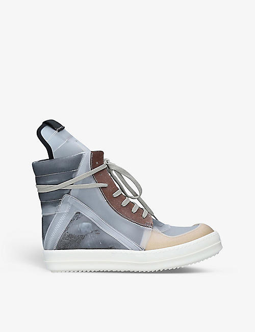 RICK OWENS: Geobasket leather high-top trainers