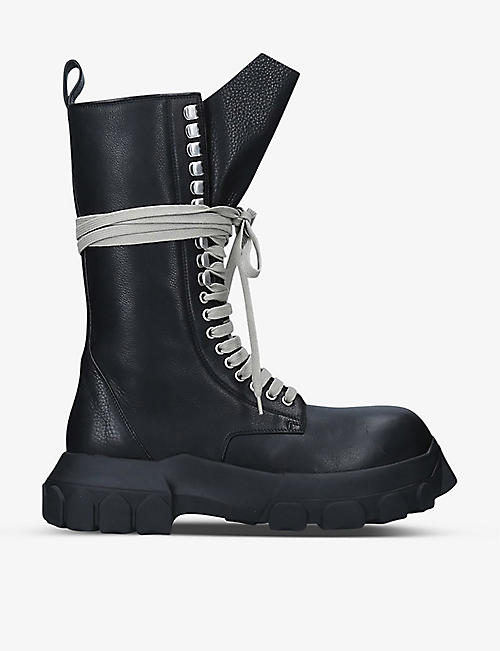 RICK OWENS: Bozo Tractor lace-up leather boots