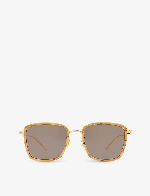 BOTTEGA VENETA: BV1008SK square-frame metal sunglasses