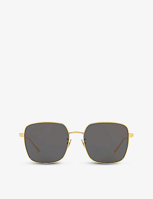 BOTTEGA VENETA: BV1082SK square-frame metal sunglasses